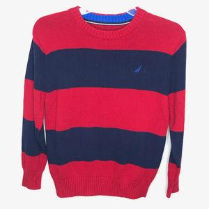 Nautica Boys Red & Navy Striped Sweater- M (10/12)